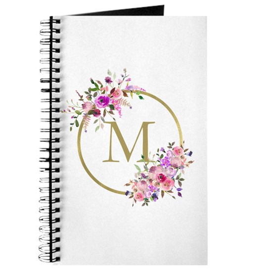 Floral and Gold Monogram