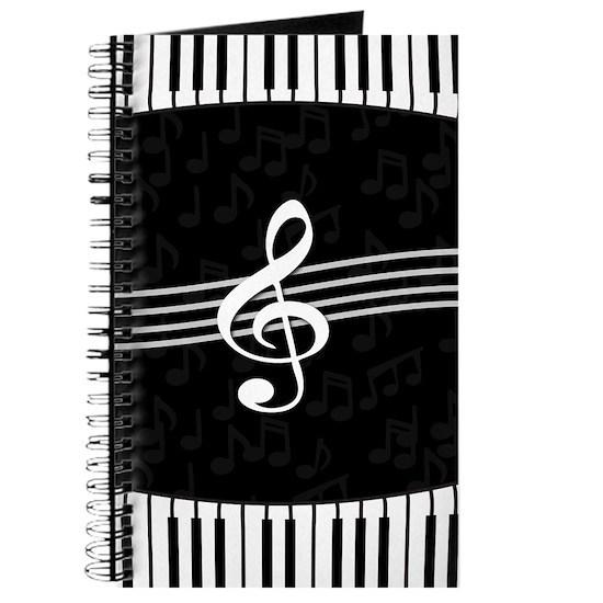 Stylish designer piano and music notes