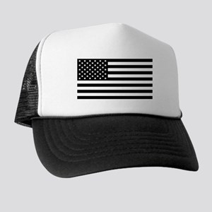 Black And White Stars And Stripes Trucker Hat