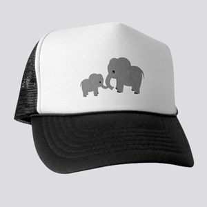 d696b81f051a3 Cute Elephants Mom and Baby Trucker Hat
