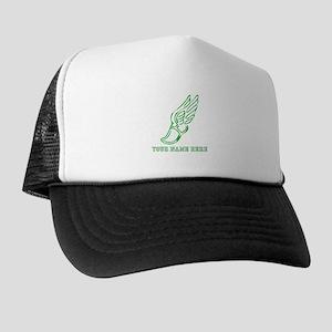 Custom Green Running Shoe With Wings Trucker Hat