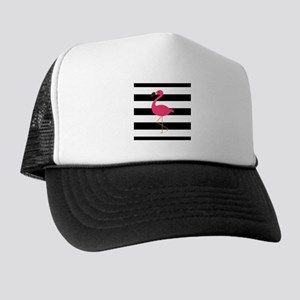 Pink Flamingo on Black and White Trucker Hat