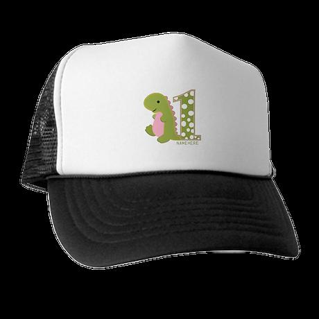 Customized First Birthday Green Dinosaur Trucker H