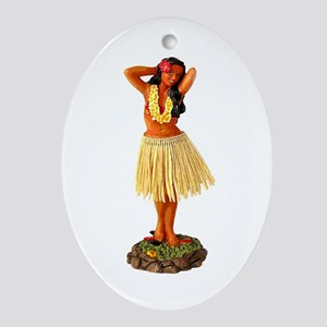 Hula Girl Oval Ornament