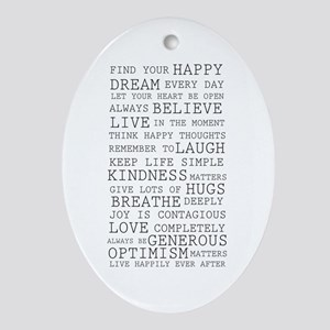 Positive Thoughts Ornament (Oval)