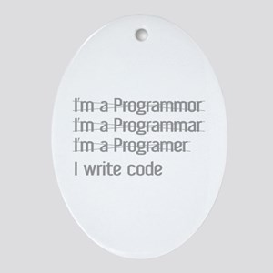 I Write Code Ornament (Oval)
