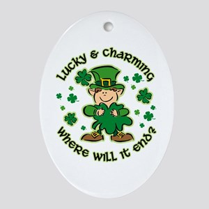 Lucky & Charming Kids Ornament (Oval)