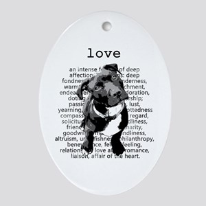 Pit Bull Love Oval Ornament