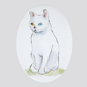 Odd Eyed White Cat Oval Ornament