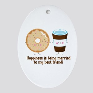 Coffee and Donut Married BF Ornament (Oval)
