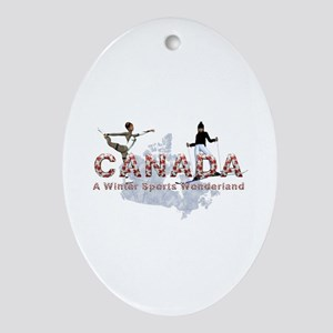 Canada Winter Sports Oval Ornament