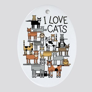 I Love Cats for Light Colors Oval Ornament