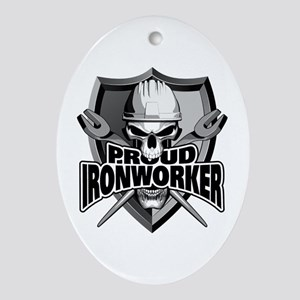 Proud Ironworker Skull Oval Ornament