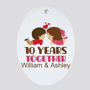 10th Anniversary Personalized Gift Oval Ornament