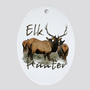 Elk Hunter Ornament (Oval)