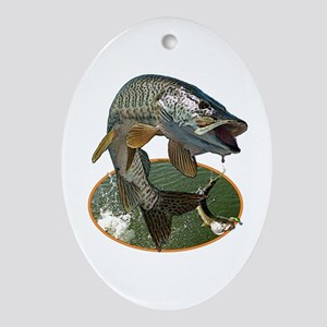 Musky Fishing Ornament (Oval)