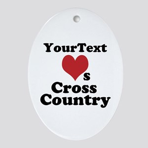 Customize Loves Cross Country Oval Ornament