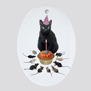 Black Cat Birthday Rats Oval Ornament