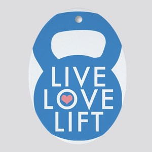 Blue Live Love Lift Oval Ornament