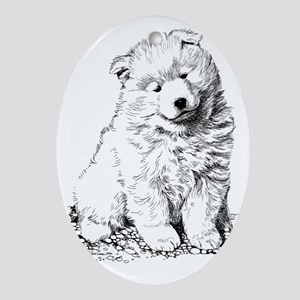 Samoyed Puppy Oval Ornament
