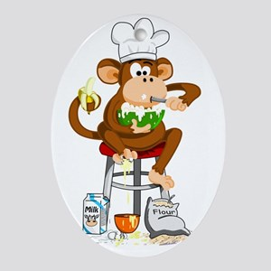 Monkey Chef Oval Ornament