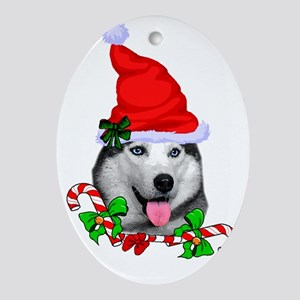 Siberian Husky Christmas Oval Ornament