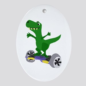 Funny T-Rex Dinosaur on Motorized Skateboard Oval