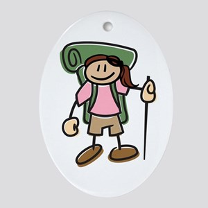 Happy Hiker Girl Oval Ornament