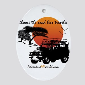 Road Less Traveled - White Oval Ornament
