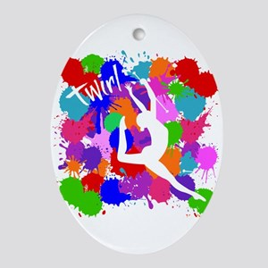 SPLATTER TWIRL Oval Ornament