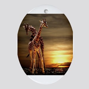 Giraffes Oval Ornament