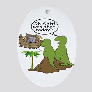 Noah and T-Rex, Funny Oval Ornament
