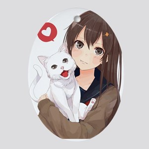 Anime Girl Holding Her Cat Oval Ornament