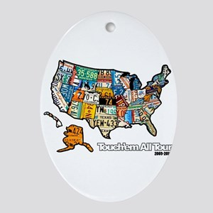 TouchemAllTee-F USMapPlates Oval Ornament