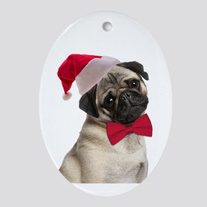 Santa Pug Oval Ornament