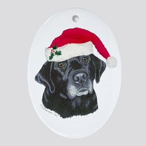 Dixie lab Santa Oval Ornament