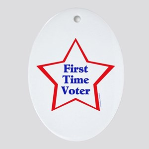 First Time Voter Star Ornament (Oval)