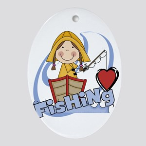 GIRLLOVEFISHING Oval Ornament