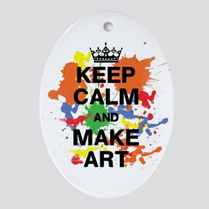 Keep Calm and Make Art Oval Ornament