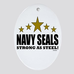 Navy Seals Strong As Steel Ornament (Oval)