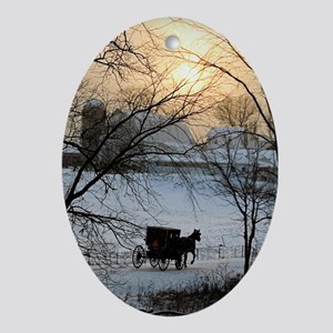 Winter Amish Sunset Oval Ornament