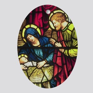 Nativity in Stained Glass Oval Ornament