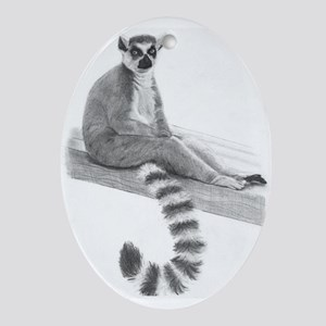 Lounging Lemur Oval Ornament