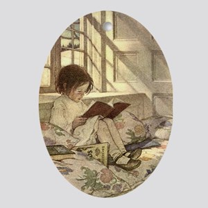 Vintage Books in Winter, Child Reading Ornament (O