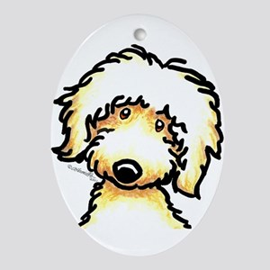 Yellow Labradoodle Face Ornament (Oval)