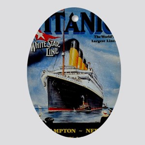 Vintage Titanic Travel Oval Ornament