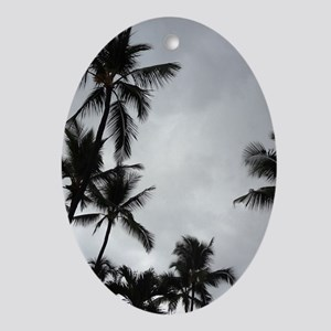 Palm Trees Silhouette Oval Ornament