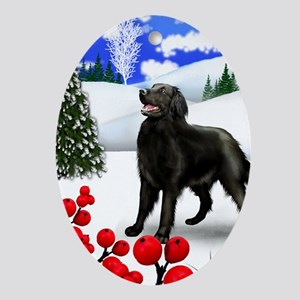 FLAT COATED RETRIEVER DOG WINTER Oval Ornament