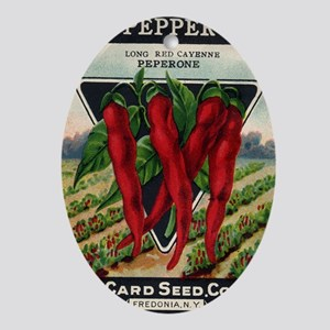 Cayenne Red Pepper antique seed pack Oval Ornament