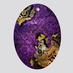 iPhone 4 Purple Grunge Steampunk Sli Oval Ornament